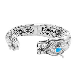 Royal Bali Collection - Arizona Sleeping Beauty Turquoise Dragon Cuff Bangle (Size 7.5) in Sterling