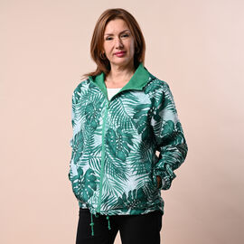 LA MAREY Floral Pattern Water-Resistant Jacket - Green and White