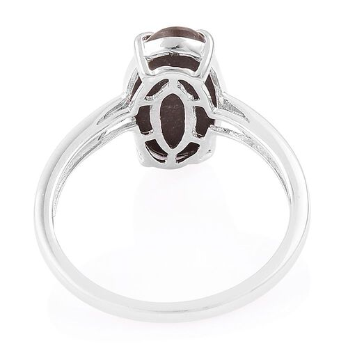 AA Canadian Ammolite (Ovl) Solitaire Ring in Platinum Overlay Sterling Silver 3.250 Ct.
