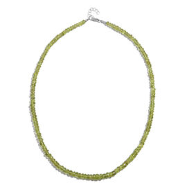 Manchurian Peridot (Rnd) Necklace (Size 18 with Half inch Extender) in Rhodium Plated Sterling Silver 100.000 Ct.