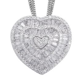Simulated Diamond Heart Pendant With Chain