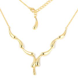 LucyQ Yellow Gold Overlay Sterling Silver Water Flowing Necklace (Size 16 and 4 inch Extender), Silver wt 16.91 Gms.
