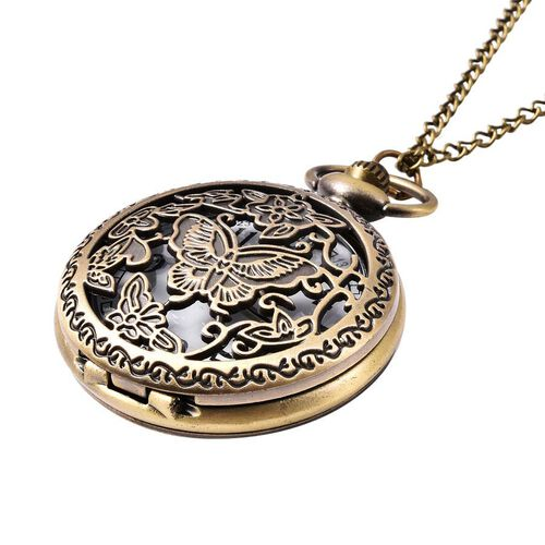 STRADA Japanese Movement Butterfly Pattern Pocket Watch with Chain (Size 31) in Antique Bronze Plated