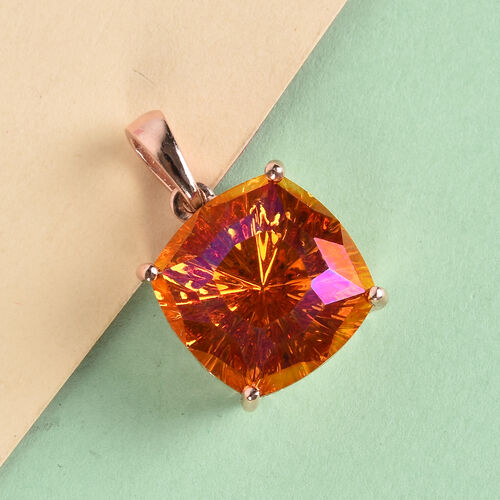 J Francis Crystal from Swarovski Astral Pink Crystal Pendant in Rose Gold Overlay Sterling Silver