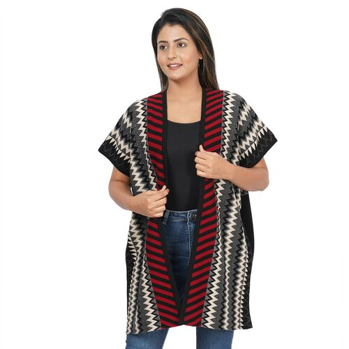 Chevron and Stripe Print Knit Duster Kimono (L: 89cm, W: 71cm) - Black and Red