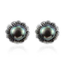 Freshwater Peacock Pearl Floral Stud Earrings (with Push Back) Sterling Silver