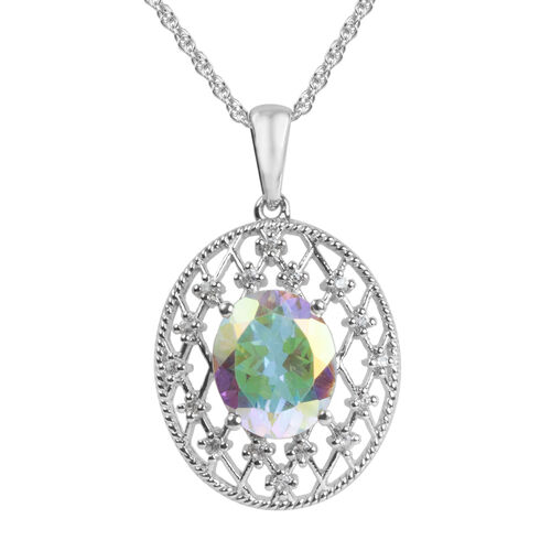Mercury Glow (Ovl), Natural Cambodian Zircon Pendant with Chain in Platinum Overlay Sterling Silver 4.011 Ct.