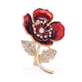 TJC Poppy Design - Austrian White Crystal Flower Enamelled Brooch in Gold Tone