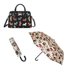 Signare Tapestry - Playful Puppy Triple Compartment Bag with FREE UMBRELLA