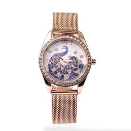STRADA Japanese Movement Peacock Pattern Water Resistance White Austrian Crystal Studded Watch with