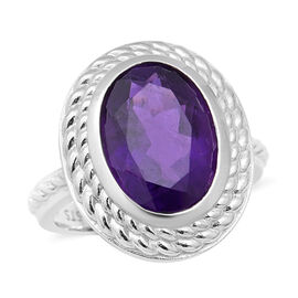 5.15 Ct Zambian Amethyst Solitaire Ring in Rhodium Plated Sterling Silver 5.90 Grams