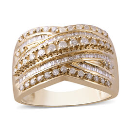 9K Yellow Gold SGL Certified Diamond (Rnd and Bgt) (I3/G-H) Criss Cross Ring 1.00 Ct.