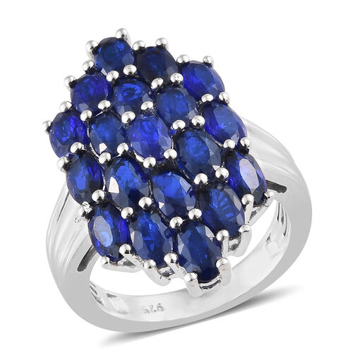 4.75 Ct Blue Spinel Cluster Ring in Platinum Plated Sterling Silver 5 Grams