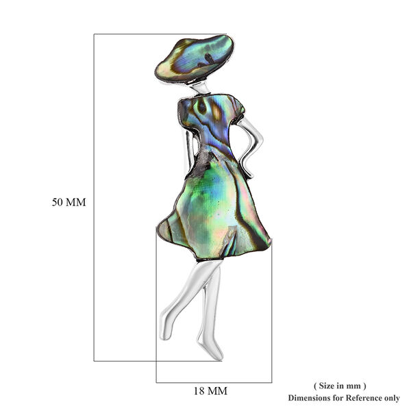 Abalone Shell Girl Brooch in Silver Tone
