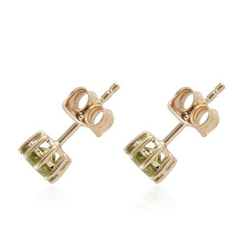 WEBEX- 9K Yellow Gold AA  Hebei Peridot (Rnd) Earrings (with Push Back) 1.000 Ct.