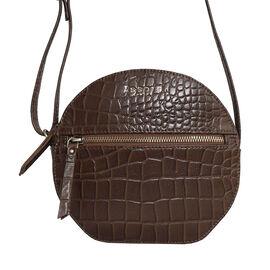 ASSOTS LONDON JANE Genuine Leather Round Croc Crossbody Bag (Size 19x19x6cm) - Tan