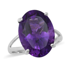 Lusaka Amethyst Solitaire Ring in Rhodium Overlay Sterling Silver 10.75 Ct.