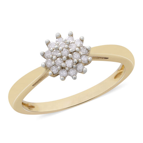9K Yellow Gold 0.20 Carat Diamond (Rnd) Floral Ring SGL Certified (I3/G-H)