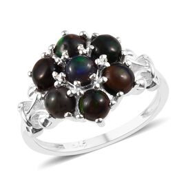 1 Ct Sable Ethiopian Opal Cluster Ring in Sterling Silver