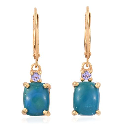 Natural Rare Opalina (Cush), Tanzanite Lever Back Earrings in 14K Gold Overlay Sterling Silver 4.000 Ct.