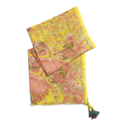 WOOL Blend Digital Floral Pattern Yellow Shawl with handmade Tassle  (Size 180 x 70 Cm)