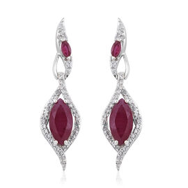 6 Carat African Ruby and Cambodian Zircon Drop Earrings in Platinum Plated Sterling Silver 5.9 Grams