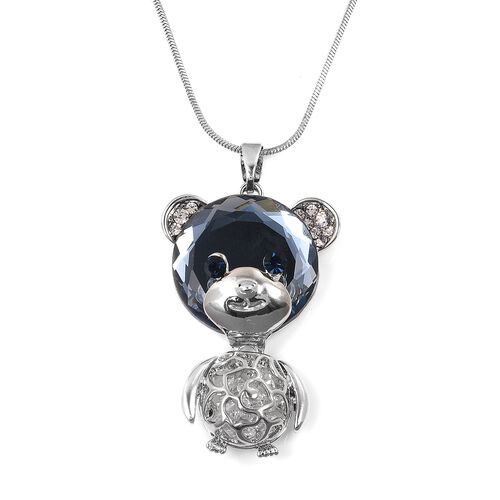 Simulated Grey Spinel (Rnd), White and Blue Austrian Crystal Teddy Bear Pendant With Chain