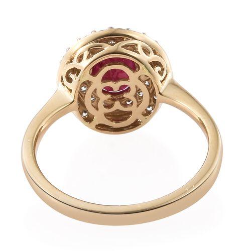ILIANA 18K Yellow Gold AAA Burmese Ruby (Ovl 1.450 Ct.), Diamond (SI/H-H) Cluster Ring 2.000 Ct.