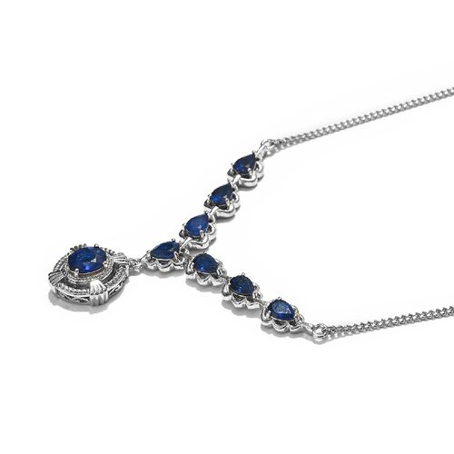 Tanzanian Blue Spinel Necklace (Size 20) in Platinum Overlay Sterling Silver 4.70 Ct, Silver wt. 11.50 Gms