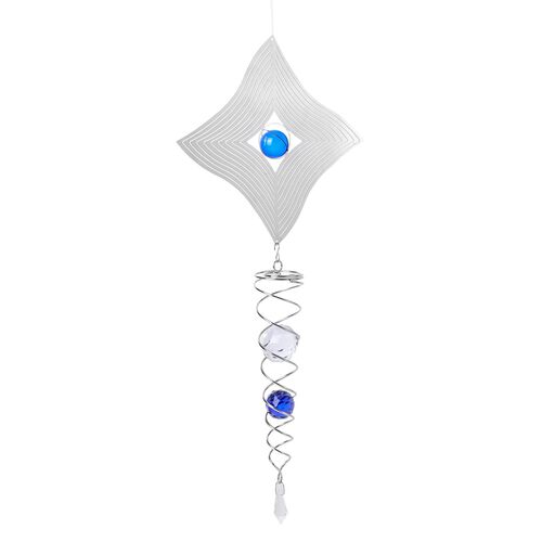 Home Decor - Hanging 3D Wind Spinner With Blue and White Balls Inside (Size 41.15 Cm)