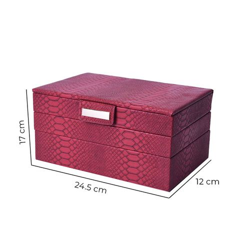 Three-Layer Jewellery Box with Light Pink Velvet Dust Cover on the Second and Third Layer (Size 24.5x17x12cm) - Burgundy