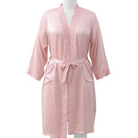 100% Mulberry Silk Robe with Lace in Powder Pink Colour