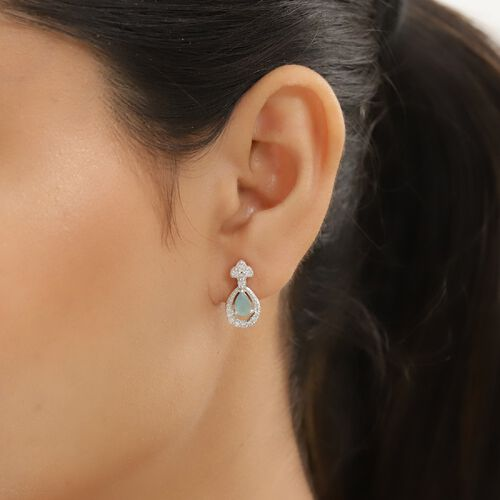 Grandidierite and Natural Cambodian Zircon Dangling Earrings (with Push Back) in Platinum Overlay Sterling Silver 1.08 Ct.