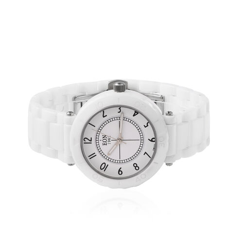 EON 1962 Swiss Movement 3 ATM Water Resistant Watch in Stainless Steel with White Ceramic Chain Strap