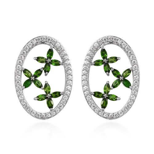 9 Carat Russian Diopside and Zircon Mirror Back Floral Earrings in Platinum Plated Silver