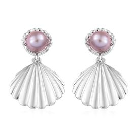 Fresh water pearl - Pink (3.75 Ct) Platinum Overlay Sterling Silver Earring  1.500  Ct.