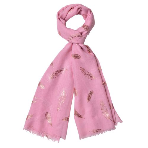 Golden Feathers Pattern Light Pink Colour Scarf with Fringes (Size 180X70 Cm)