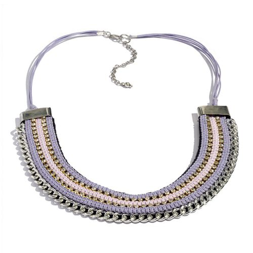 Jewels of India Purple and Pink Thread and Zircon Silver Plated Brass Choker Necklace (Size 9 with 3