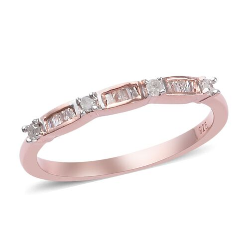 Diamond Stacking Ring in Rose Gold Plated 925 Sterling Silver