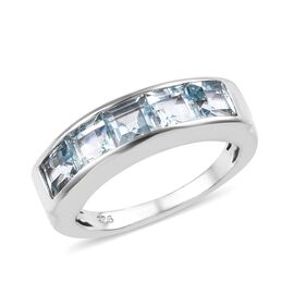 Sky Blue Topaz (Sqr) Band Ring in Platinum Overlay Sterling Silver 2.00 Ct.