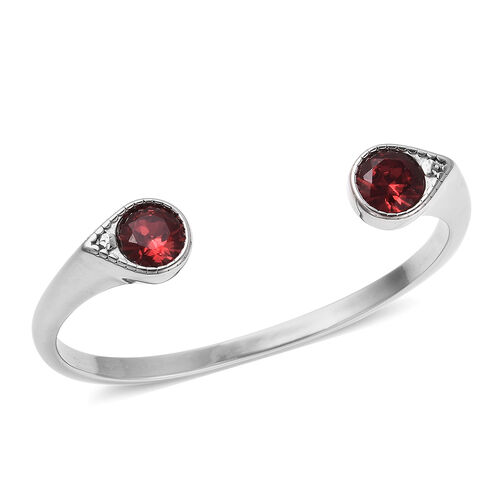 J Francis Crystal from Swarovski Ruby Crystal Cuff Bangle (Size 7.5) in Stainless Steel