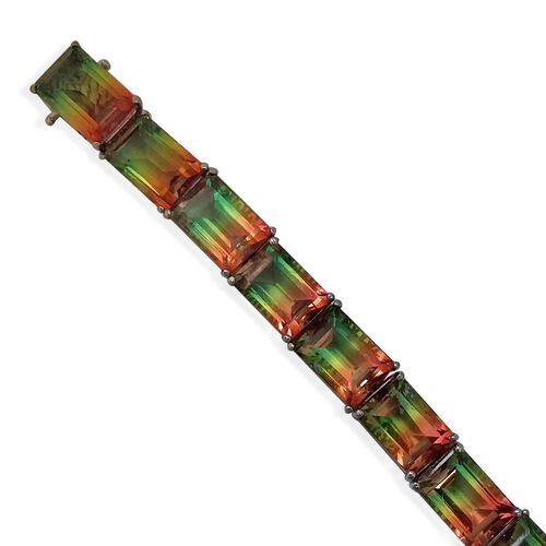 Watermelon Quartz Triplet (100.00 Ct) Platinum Overlay Sterling Silver Bracelet (Size 8)  100.000  Ct.