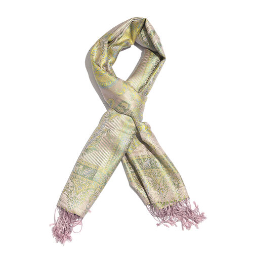 SILK MARK - 100% Superfine Silk Olive Green, and Multi Colour Flower Pattern Jacquard Jamawar Scarf