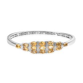 OTO - Citrine (Ovl) Bangle (Size 7.5) in Platinum Plated 6.00 Ct.