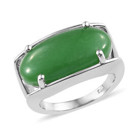 10 Carat Green Jade Solitaire Ring in Platinum Plated Sterling Silver 5.4 Grams