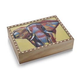 Wooden Jewellery Box with Hand-painted Gemstone Elephant (Size 20.3x15.2x5 Cm) with Red Velvet Linin