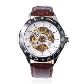 GENOA Automatic Skeleton Dial and Leather Strap Water Resistance Watch - Brown