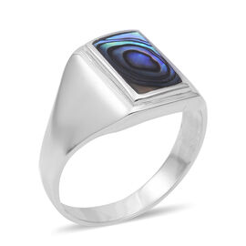 Abalone Shell Solitaire Ring in Sterling Silver 4.2 Grams