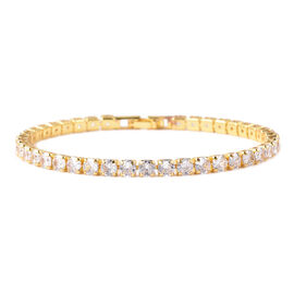Simulated Diamond Tennis Bracelet in Yellow Gold Plated 7.25 Inch