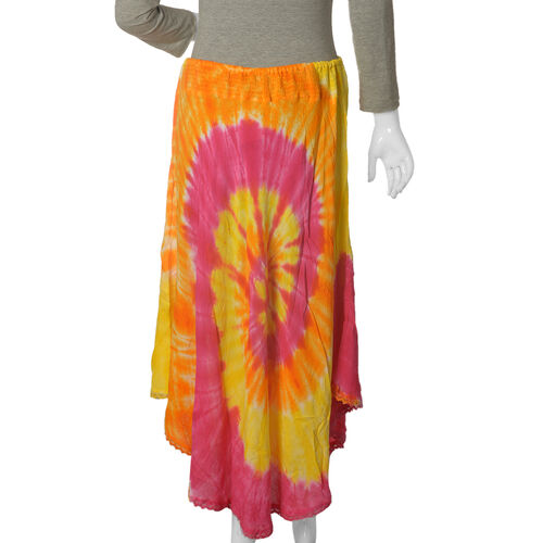 Orange and Multi Colour Tie and Dye skirt (Free Size)